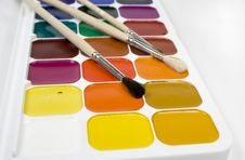 Set Of Water Colour Paints Royalty Free Stock Photo