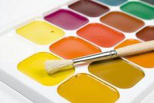 Set Of Water Colour Paints Stock Photos