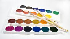 Set Of Water Colour Paints Stock Images