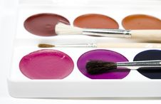 Free Set Of Water Colour Paints Royalty Free Stock Images - 7777489