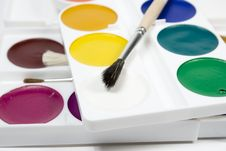 Free Set Of Water Colour Paints Royalty Free Stock Images - 7777499