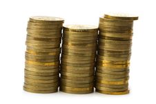 Free Three Stacks Of Golden Coins Isolated Royalty Free Stock Photos - 7777758