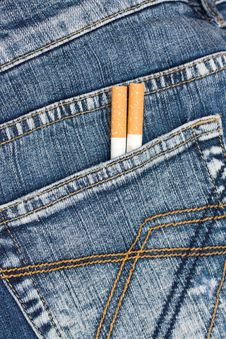 Free Two Cigarettes In Jeans Pocket Stock Image - 7777791