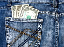 Denim Jeans With Money In Back Pocket Stock Photography