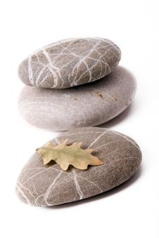 Free Stones With Dry Leaf Royalty Free Stock Photo - 7778285