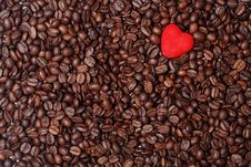 Red Heart And Coffee Beans