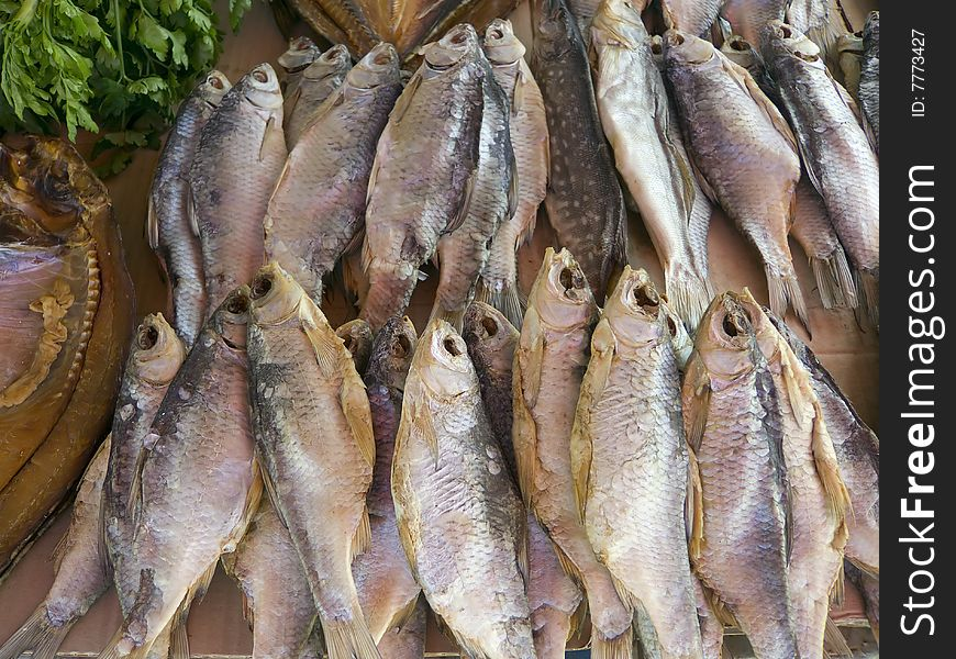 Air cured fish on market stall