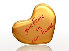 You & Me In One Heart In Golden Heart Royalty Free Stock Photography