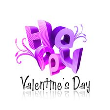 Free Happy Valentine S Day Illustrated Types III Violet Royalty Free Stock Image - 7785106