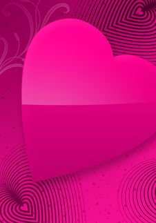 Pink Valentine S Day Illustrated Heart II Royalty Free Stock Photos