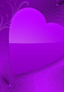Violet Valentine S Day Illustrated Heart II Royalty Free Stock Photography