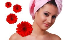 Free Woman In Towel And Flowers Stock Photo - 7785280