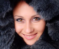 Woman And Black Fur Royalty Free Stock Images