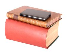 Free Old Leather Bound Books With A Computer Hard Drive Royalty Free Stock Image - 7785676