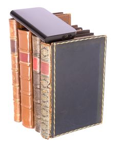 Old Leather Bound Books With A Computer Hard Drive Royalty Free Stock Photos