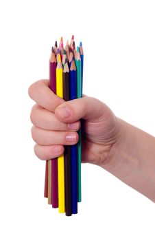 Free Colored Pencils In Hand Royalty Free Stock Photo - 7786215
