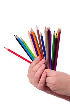 Free Colored Pencils In Hand Royalty Free Stock Images - 7786219