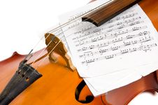 Cello With Notes Royalty Free Stock Images