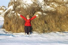 Free Beautiful Girl At Stacks Of Hay Stock Photography - 7788142