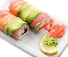 Free Japanese Cuisine - Salmon Roll Royalty Free Stock Images - 7788819