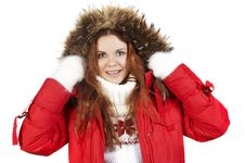 Girl In In A Red Winter Jacket Stock Photography