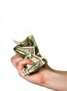 Hand Crunching Money Stock Image