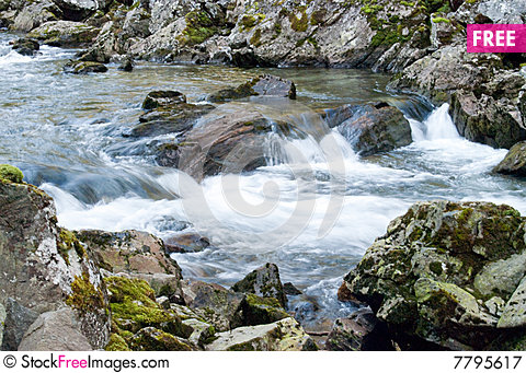 Mountain stream with cataracts in Norway Stock Photo