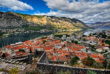 Roofs Of Old Town Of Kotor Stock Photo