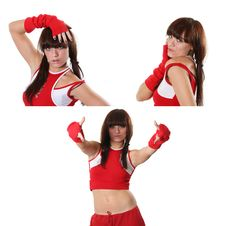 Free Girl Dances In A Red Suit Stock Image - 7791691