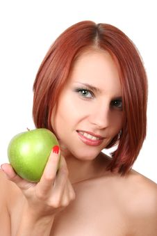 Free Sexy Girl With Apple Stock Photography - 7792712