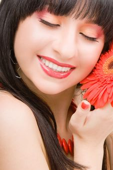 Free Young Woman With Flower Royalty Free Stock Photography - 7792867