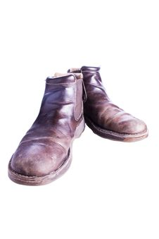 Brown Leather Boots Royalty Free Stock Photography