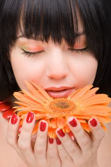 Free Young Woman With Flower Royalty Free Stock Image - 7793486