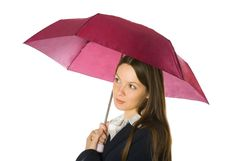 Free Portrait Of A Business Woman Holding A Umbrella Royalty Free Stock Photos - 7793738