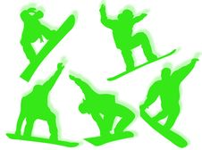 Free Snowboarders Silhouettes Royalty Free Stock Image - 7795176