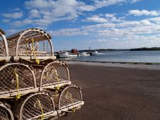 Lobster Traps On The Wharf With Copy Space Royalty Free Stock Photos