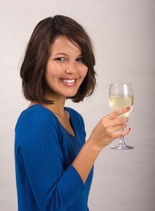 Free Girl Drinking A Glass Of White Wine Stock Images - 7796394