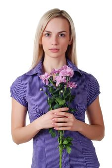 Woman And Bouquet Of Flowers Royalty Free Stock Image