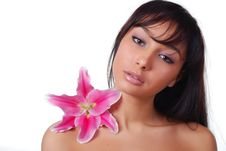 Free Woman With Lily Stock Photography - 7797522