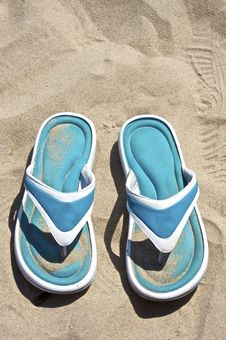 Free Blue Sandals On The Beach Stock Images - 7798424