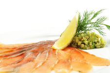 Salt Salmon With Avocado Frappe Stock Photo