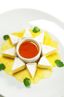 Fromage Cheese With Honey Orange Sauce Royalty Free Stock Photography
