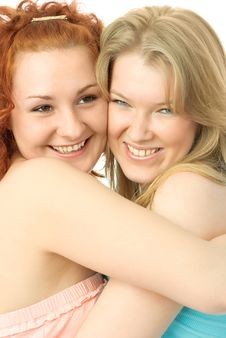 Two Happy Embracing Friends Stock Photo
