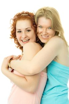 Two Happy Embracing Friends Royalty Free Stock Photography