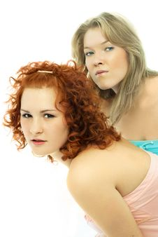 Free Two Curious Girls Look At Something Stock Images - 7799624