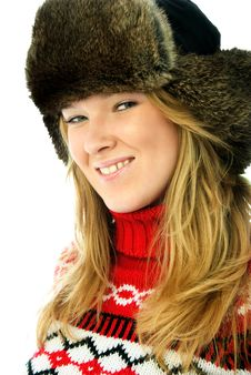 Free Beautiful Woman Wearing Warm Winter Clothes Royalty Free Stock Photography - 7799757