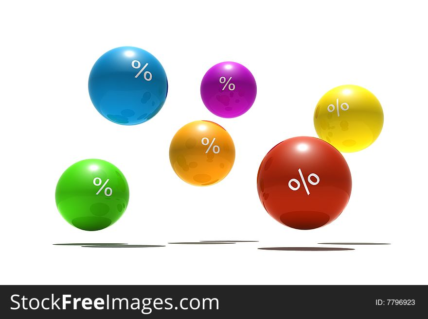 Isolated spheres with percent symbol