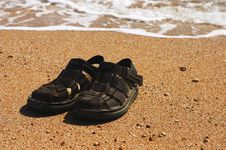 Free Sandals On The Sand Stock Photography - 782222