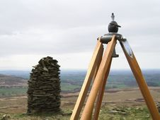 Old Tripod On Hilltop Stock Photo