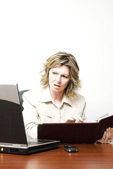 Free Business Woman Looking At Laptop Stock Image - 784361